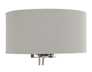 Searchlight Drum Pleat 2 Light Wall Light, Chrome Finish With Silver Pleated Shade - 3462-2SI