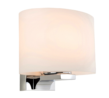 Firstlight Palm Single Light Wall Lamp, Chrome Finish With Opal Glass Shade - 3462CH