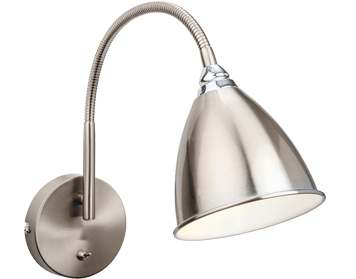 Firstlight Bari Single Light Switched Wall Lamp, Brushed Steel Finish with Chrome - 3470BS