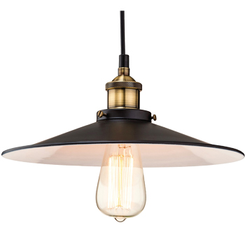 Firstlight Empire Single Light Ceiling Pendant, Black with Antique Brass Finish - 3471BK