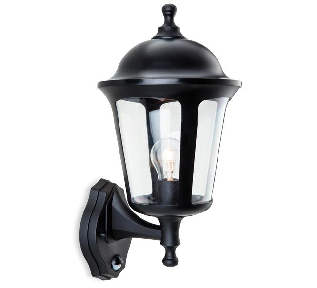 Firstlight Boston IP44 1 Light Outdoor Wall Lantern With PIR Sensor, Black Finish - 3481BK ...