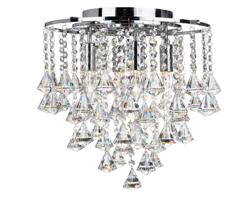 Searchlight Dorchester 4 Light Ceiling Light, Polished Chrome Finish With Clear Crystal Buttons & Drops- 3494-4CC