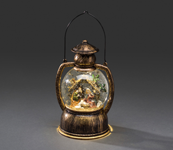 Konstsmide Indoor Water Filled Lantern with Nativity and Warm White LED's - 3499-000