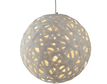 Searchlight Avalon 1 Light Large Paper Rattan Pendant Light, Matt White Finish - 3501-50WH