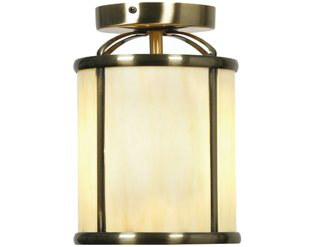Oaks Lighting Fern Flush Fitted Lantern, Antique Brass Tiffany - 351 FL AB TIFF