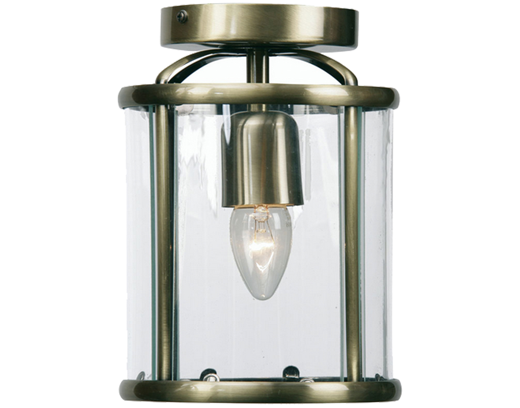 Oaks Lighting Fern Flush Fitted Lantern, Antique Brass Finish - 351 FL AB