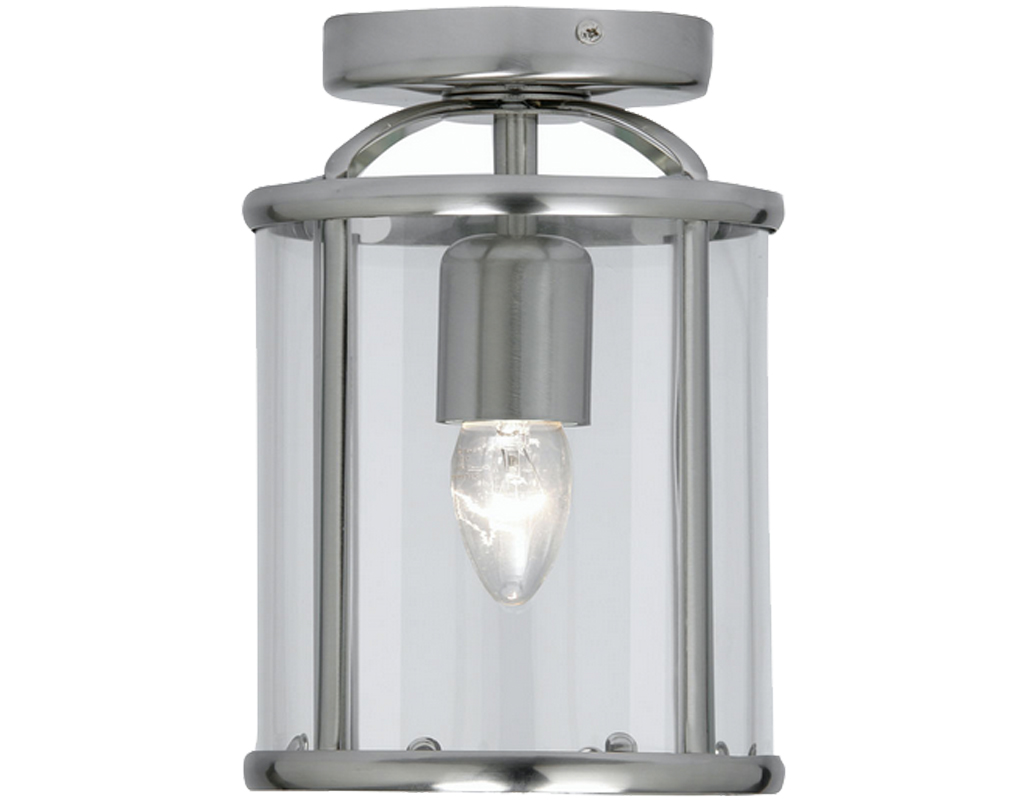Oaks Lighting Fern Flush Fitted Lantern, Antique Chrome Finish - 351 FL AC