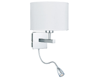 Searchlight 1 Light Switched Wall Light With Integrated LED Reading Lamp, Chrome Finish With White Drum Shade - 3550CC