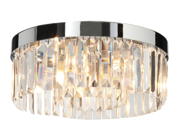 Endon Crystal 5 Light Flush Ceiling Light, Clear Crystal Glass & Chrome Plate Finish - 35612
