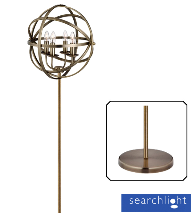 Searchlight Orbit 4 Light Cage Frame Orb Floor Lamp