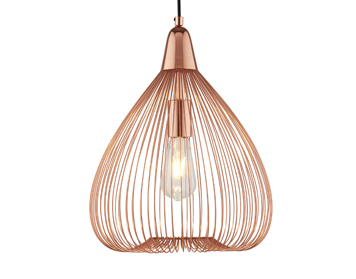 Searchlight Pumpkin 1 Light Pendant Ceiling Light, Copper Finish With Cage Style Shade - 3591CU