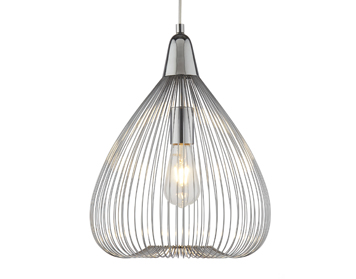 Searchlight Pumpkin 1 Light Pendant Ceiling Light, Chrome Finish With Cage Style Shade - 3591CC