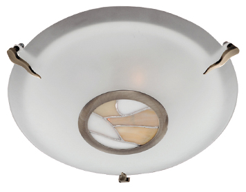 Searchlight Tiffany 1 Light Ceiling Light, Antique Brass Finish With Amber & Frosted Glass - 36095AM