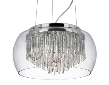 Searchlight Curva 4 Light Ceiling Pendant, Chrome Finish With Glass Shade - 3624-4CC