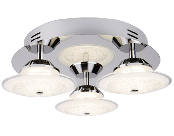 Searchlight Kara 3 Light LED Flush Ceiling Light, Chrome Finish With Crushed Ice Effect Glass Shades - 3743-3CC
