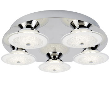 Searchlight Kara 5 Light LED Flush Ceiling Light, Chrome With Crushed Ice Effect Glass Shades - 3745-5CC