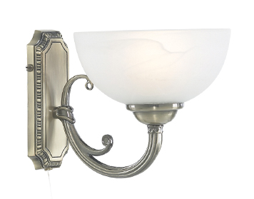 Searchlight Windsor 1 Light Switched Wall Light, Antique Brass Finish With Alabaster Glass Shade - 3771-1AB