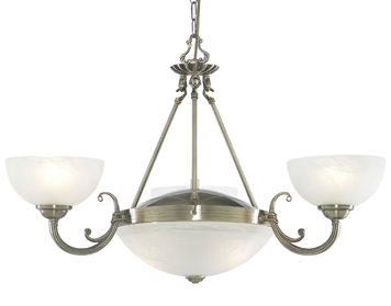 Searchlight Windsor 5 Light Pendant Ceiling Light, Antique Brass Finish With Alabaster Glass Shades - 3775-5AB