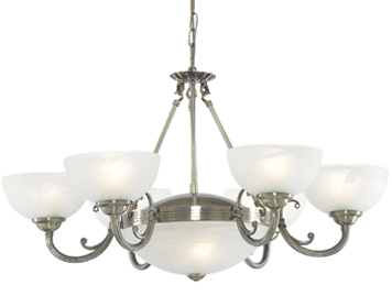 Searchlight Windsor 8 Light Pendant Ceiling Light, Antique Brass Finish With Alabaster Glass Shades - 3778-8AB