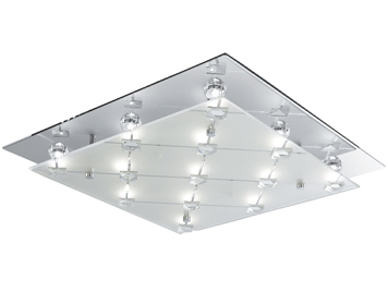 Searchlight Argyle Flush LED Ceiling Light, Chrome With Decorative Square Glass Feature - 3822CC