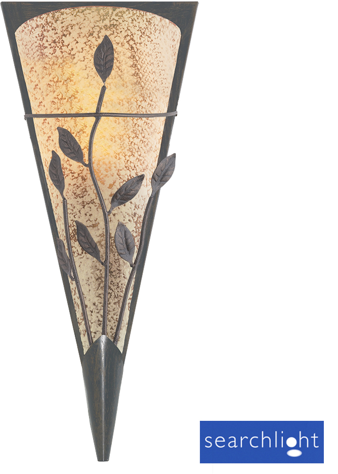 Searchlight Toga Leaf Design Wall Light Rustic Bronze