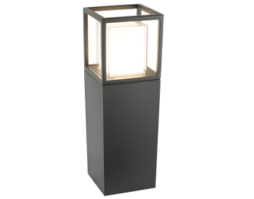 Searchlight Ohio Outdoor LED Post Light (450mm), Dark Grey Finish With Opal Diffuser & Clear Glass - 3843-450GY