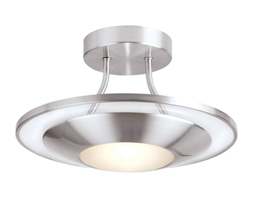 Endon Firenz Semi Flush Halogen Ceiling Fitting, Satin Chrome Finish With Clear & Frosted Glass - 387-30SC