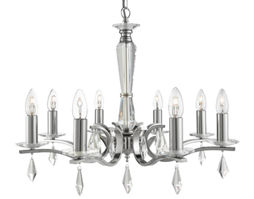 Searchlight Royale 8 Light Ceiling Light, Satin Silver Finish With Hexagonal Glass Sconces - 3908-8SS