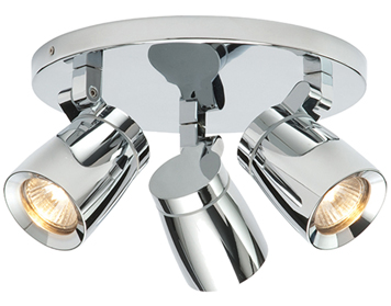 Endon Knight 3 Light Round, Chrome Plate & Clear Glass Finish - 39167