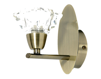 Oaks Lighting Alamas Single Light Wall Light, Antique Brass Finish With Crystal Glass Shade - 3921/1 AB