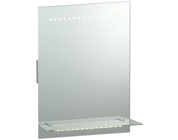 Endon Omega Shaver Mirror, Mirrored Glass & Matt Silver Finish - 39237