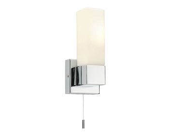 Endon Square 1 Light Wall Light, Chrome Plate & Matt Opal Duplex Glass Finish - 39627