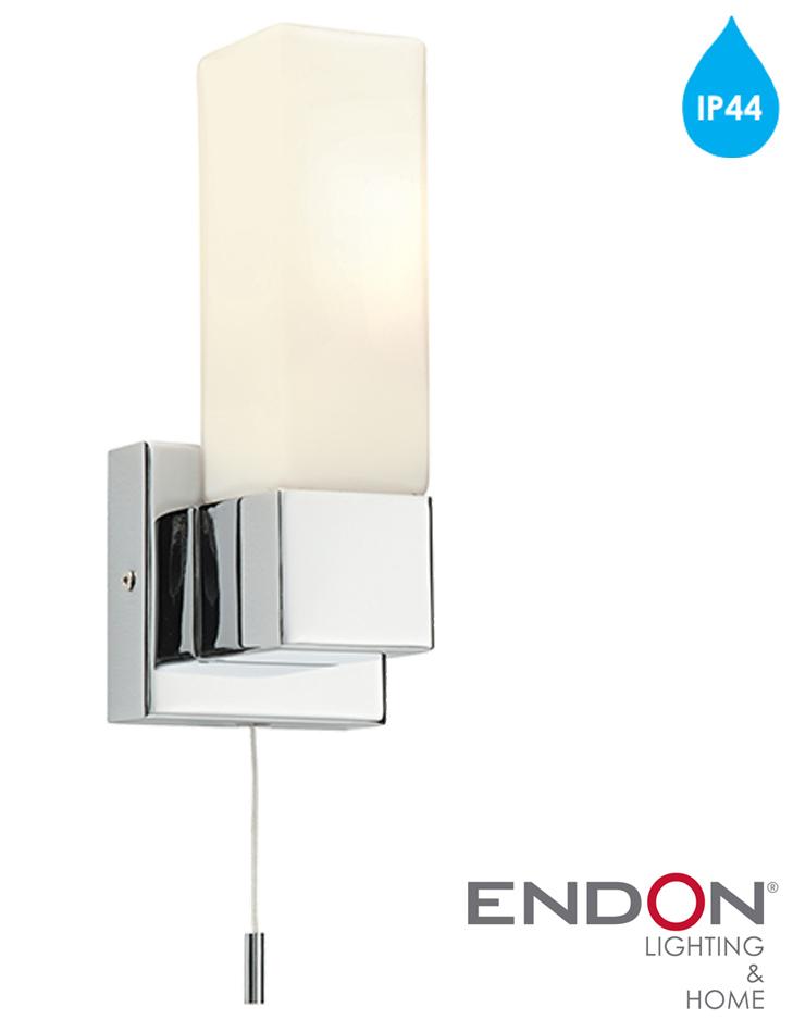 Endon Tiffany Wall Lights : Endon Square IP44 1 Light Wall Light, Chrome Plate & Matt Opal Duplex Glass - 39627 from Easy ...