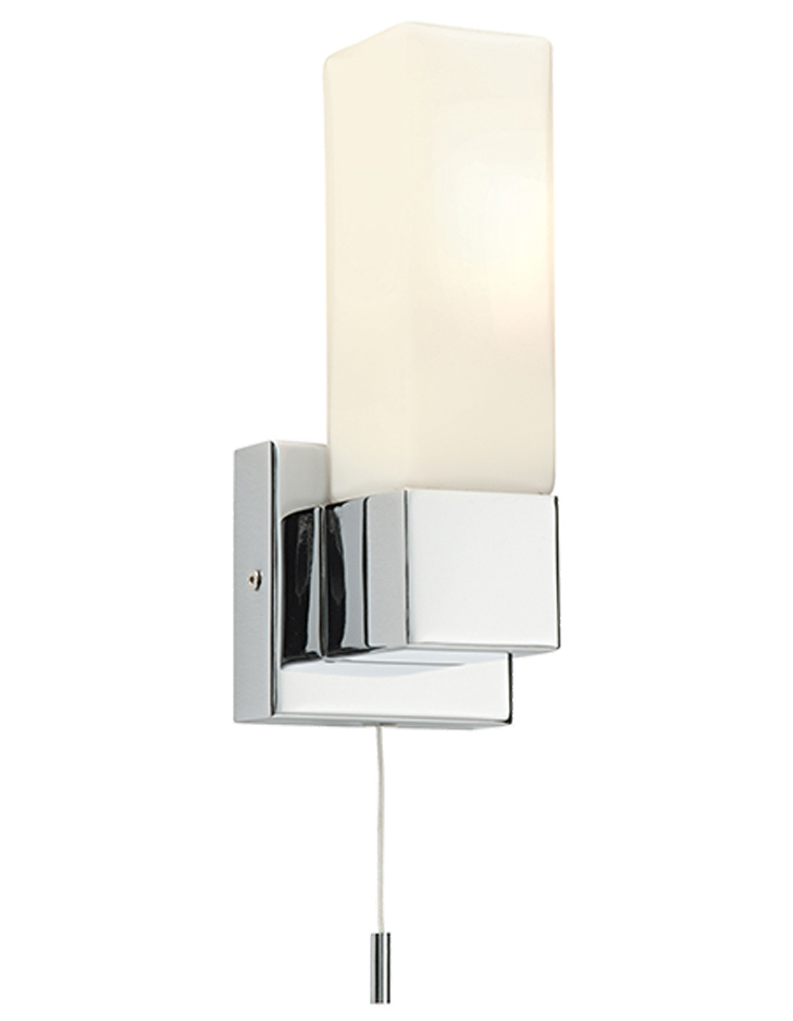 Square Chrome Wall Lights : Endon Square IP44 1 Light Wall Light, Chrome Plate & Matt Opal Duplex Glass - 39627 from Easy ...