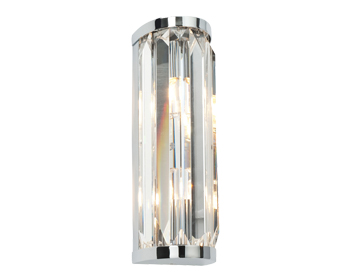Endon Crystal 2 Light Wall Light, Clear Crystal Glass & Chrome Plate Finish - 39629