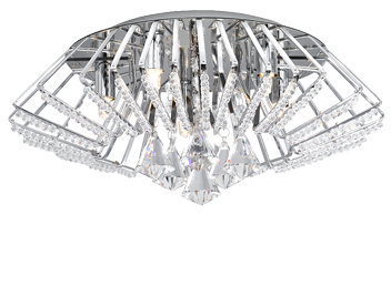Searchlight Crown Crystal Semi-Flush Ceiling Light, Polished Chrome - 3975-5CC