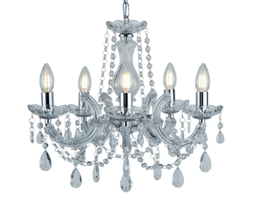 3 and 5 arm chandeliers from easy lighting searchlight marie therese 5 light chandelier chrome finish with crystal glass droplets 399 mozeypictures Choice Image