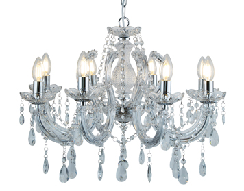 Searchlight Marie Therese 8 Light Chandelier, Chrome Finish With Crystal Glass Droplets - 399-8