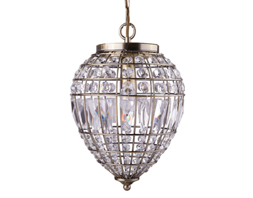 Searchlight Pineapple 1 Light Pendant Ceiling Light, Antique Brass Finish With Crystal Glass Buttons - 3991AB