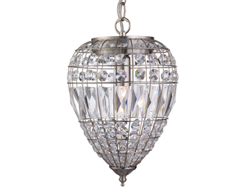 Searchlight Pineapple 1 Light Pendant Ceiling Light, Satin Silver Finish With Crystal Glass Buttons - 3991SS