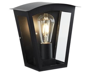 Searchlight Box 1 Light Outdoor Wall Black Aluminium Clear Glass