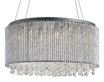 Searchlight Beatty 8 Light Ceiling Pendant Light, Chrome Finish With Crystal Buttons - 4048-8CC