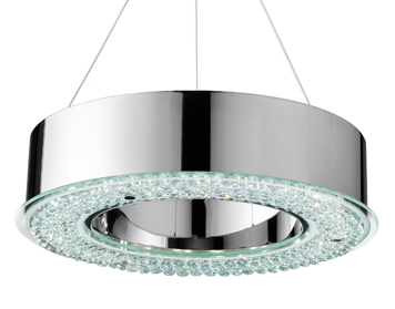 Searchlight Halo LED Pendant Light, Chrome Finish With Faceted Crystal Decorative Diffuser - 4076-48CC