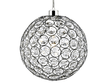 Searchlight Chantilly 1 Light Ceiling Pendant, Chrome Finish Hoops & Clear Acrylic Beads - 4145CL