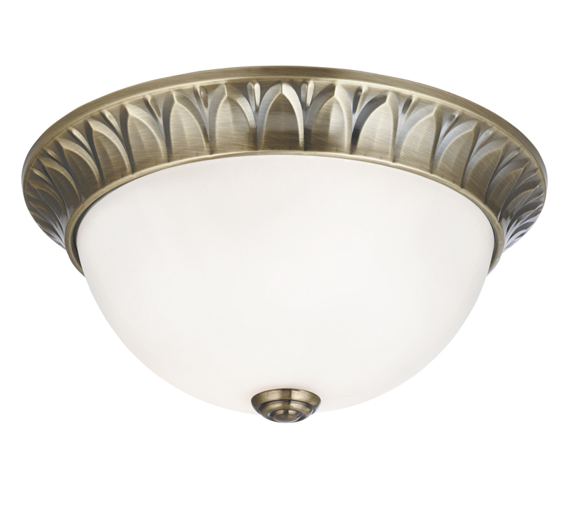Searchlight 2 Light Flush Ceiling Light Antique Brass