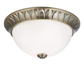 Ceiling flush lights from easy lighting searchlight 2 light flush ceiling light antique brass finish with opal glass shade 4148 aloadofball Images