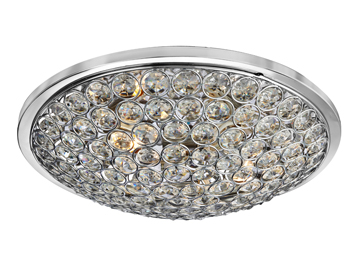Searchlight Chantilly 3 Light Flush Ceiling Light, Chrome Finish With Clear Crystal Buttons - 4163-35CC