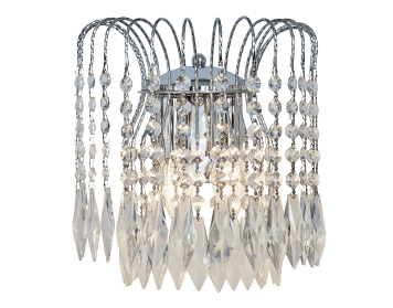 Searchlight Waterfall 2 Light Wall Light, Chrome Finish With Crystal Buttons & Drops - 4172-2