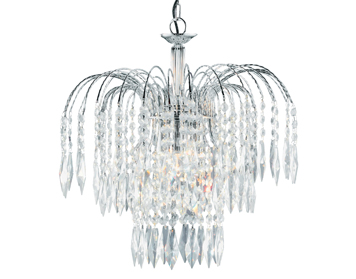 Searchlight Waterfall 3 Light Ceiling Pendant, Chrome Finish With Crystal Buttons & Drops - 4173-3