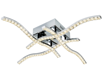 Searchlight Anson 4 Arm Flush LED Ceiling Light, Chrome Finish With Clear Crystal Trim - 4204-4CC